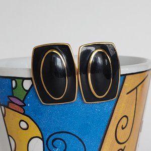 3/$25 Vintage 80's Black & Gold Monet Earrings